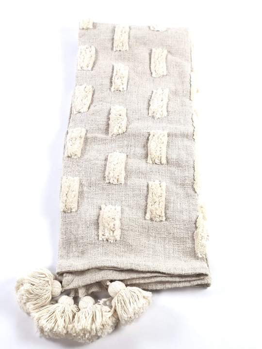 Jalsa Cream Handwoven Embroidered Throw Blanket