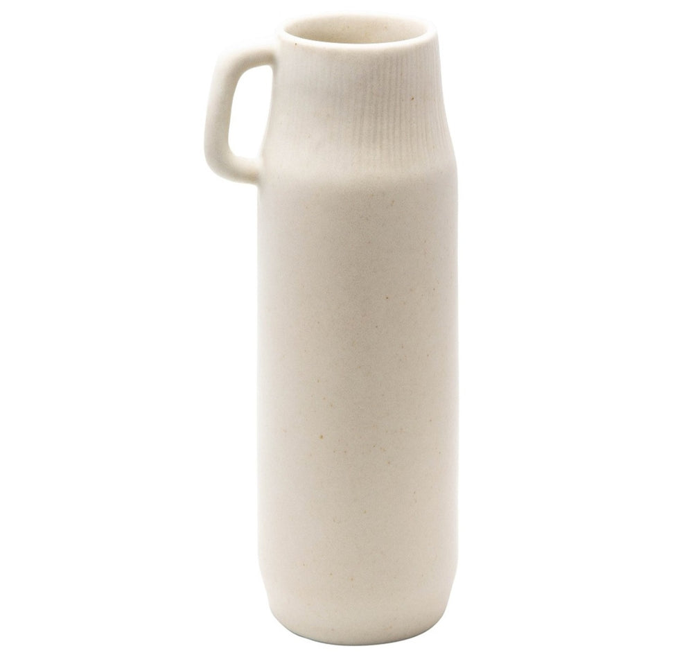 Smooth Cream Ceramic Pitcher Vase with Petite Handle, Pitcher, Vase, Home Decor, Kitchen, Living, Accessories, Accent