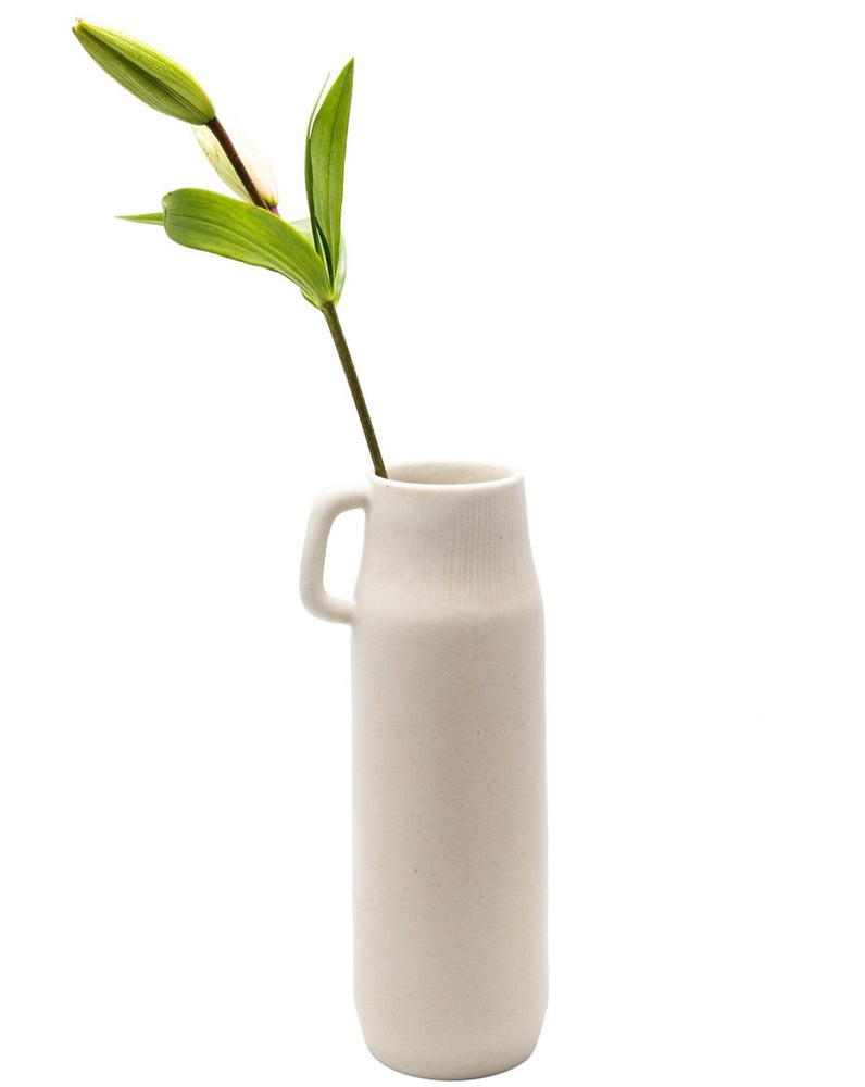 Smooth Cream Ceramic Pitcher Vase with Petite Handle