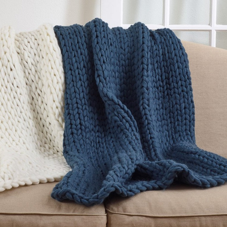 Oversized Chunky Knit Throw Blanket - Ocean Blue