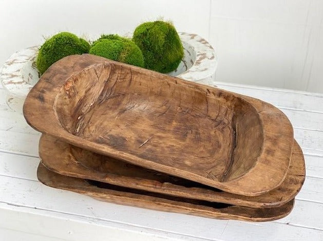 Hand Carved Classic Wooden Dough Bowl