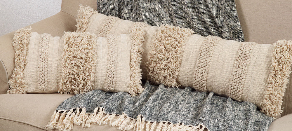 Oblong Fringe Stripe Pillow - Down Filled - Cream