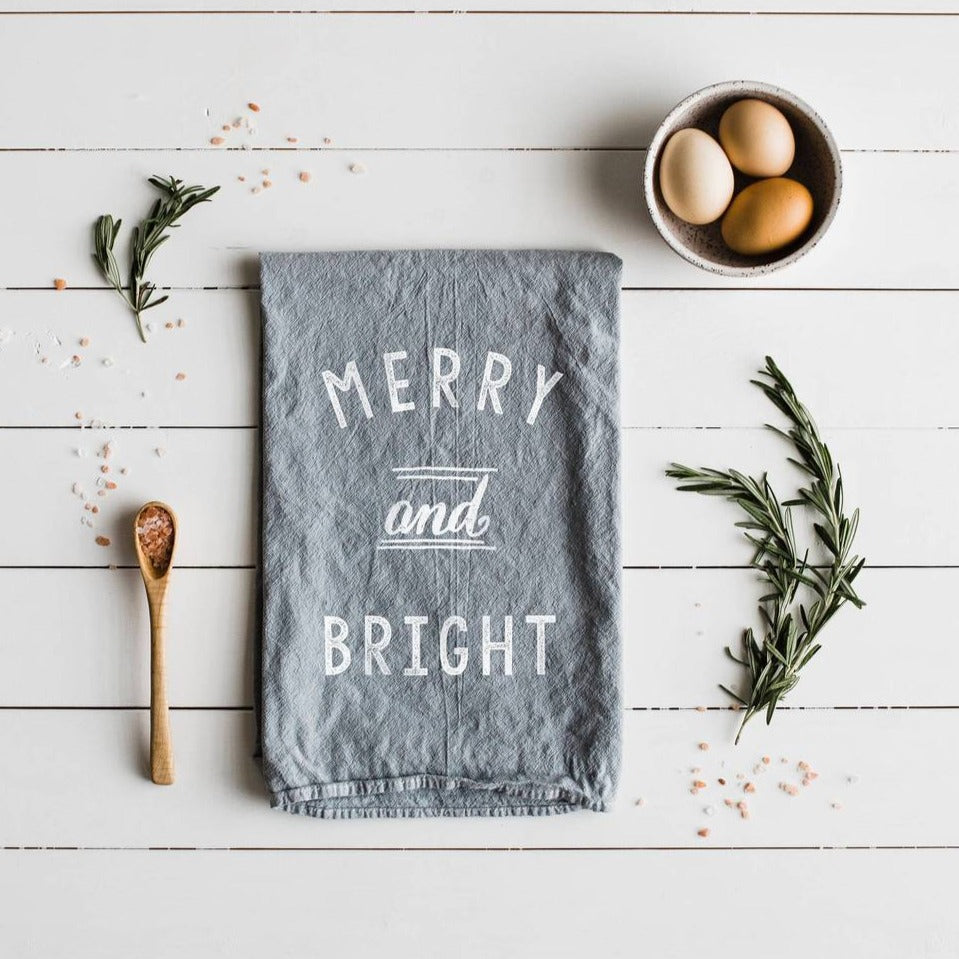 Merry and Bright Christmas Holiday Tea Towel