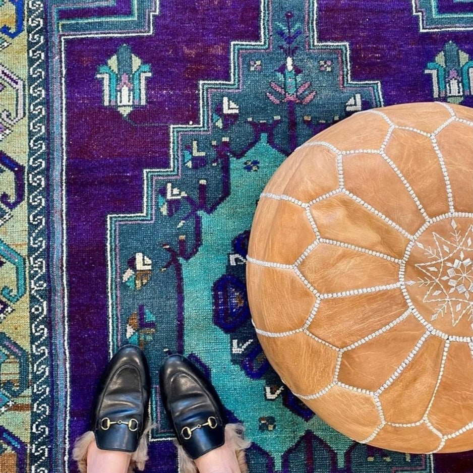 Moroccan Leather Pouf - Tan