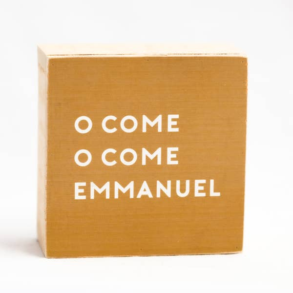 O Come Emmanuel Block Art, Christmas Decor, Home Decor, Shelf Art, Accessories