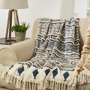 "Oversized Printed and Embellished Throw - Blue, Blanket, Decorative Throw, 50""x60"""