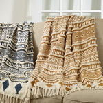 Oversized Printed and Embellished Throw Blanket - Mustard