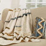 Oversized Printed and Embellished Throw Blanket - Mustard and Blue
