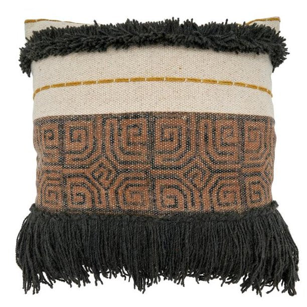Printed and Embroidered Fringe Pillow in Mocha + Rust