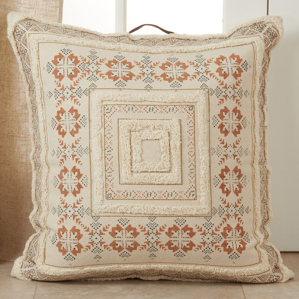 Oversized Printed + Tufted Floor Pillow - Rust & Navy Accents