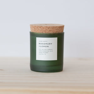 Slow North Soy Wax Candle with Rosemary and lemon essential oils, made to uplift any space or boost mood, sweet and herbal; naturally-refreshing aroma