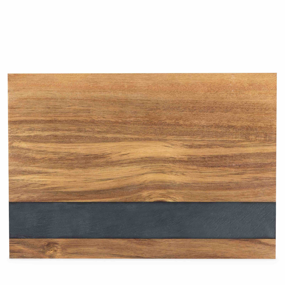 Acacia Wood with Slate inset gourmet charcuterie cheese serving board