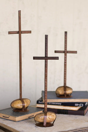 Set of 3 Metal Crosses With Caged Rock Bases