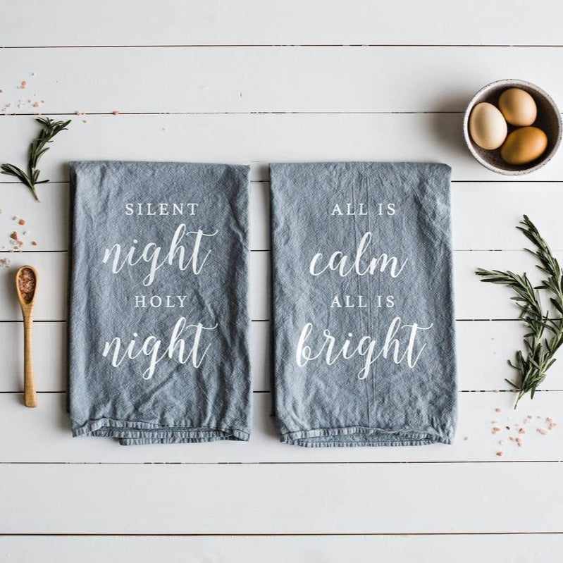 Silent Night Holy Night Christmas Holiday - Set of Two Tea Towels