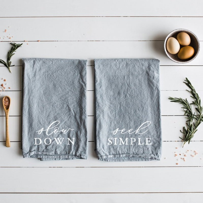 Slow Down and Seek Simple - Set of Two Tea Towels, Home Decor, Kitchen, Kitchen Accessories, Tea Towels