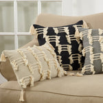 Oblong Tri-Line Frayed Pillow - Black + Cream