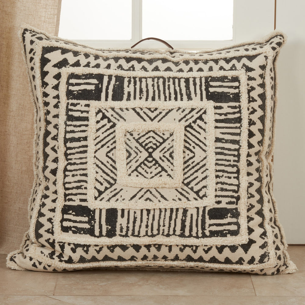 Oversized Printed + Tufted Floor Pillow, Mud-cloth, Home Decor, Living, Accents, Accessories