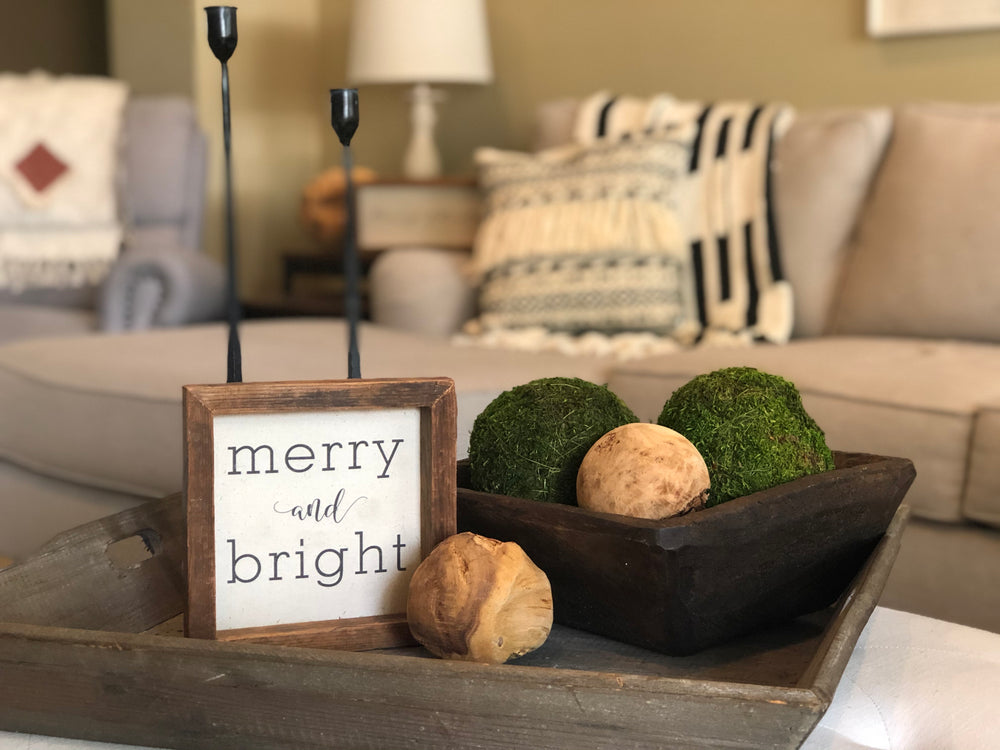 Merry and Bright 8x8 Sign, Let it Snow 8x8 Sign, Wall Art, Christmas Decor, Home Decor, Holiday Sign