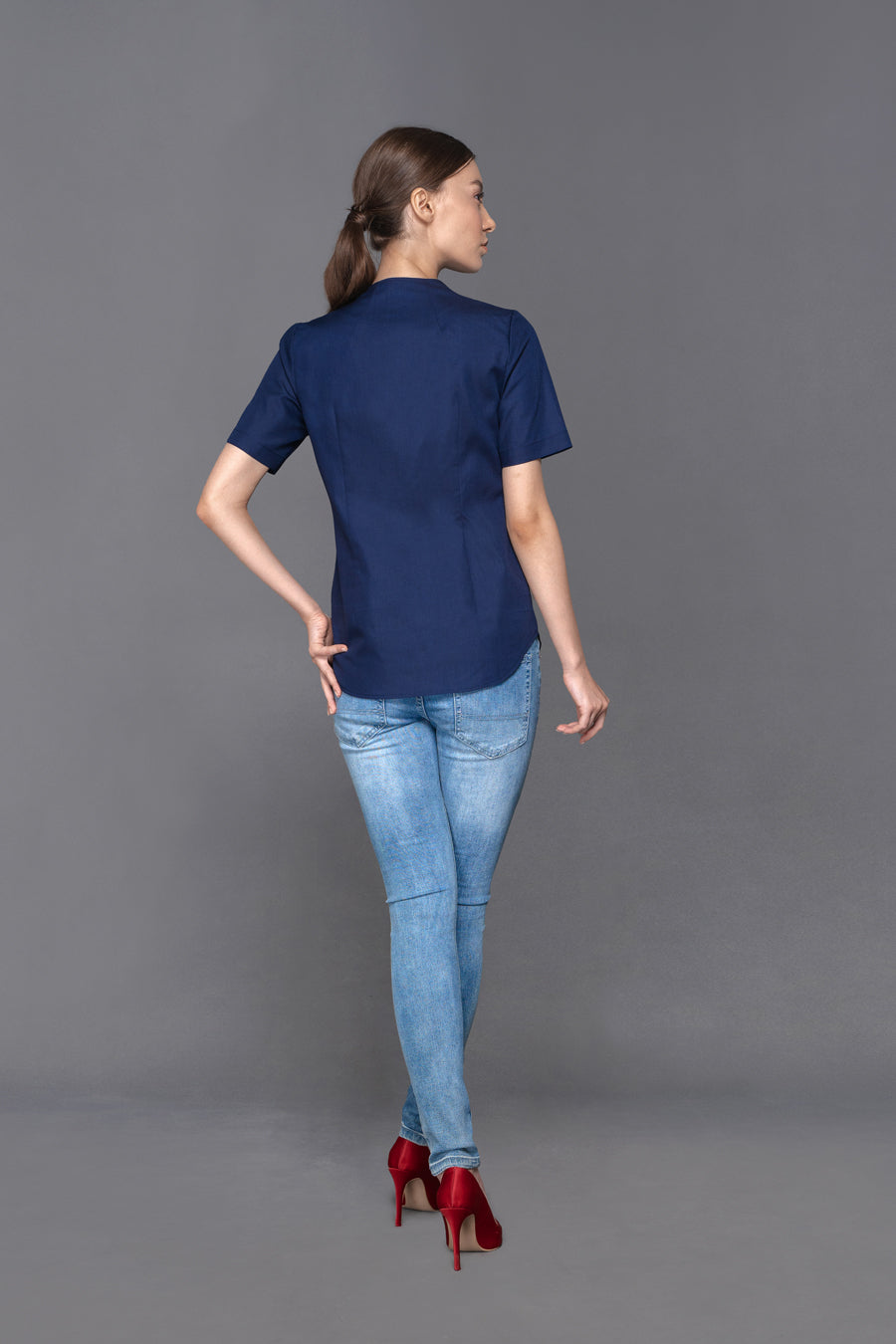 Gabriella - Short Sleeve Blue Shirt