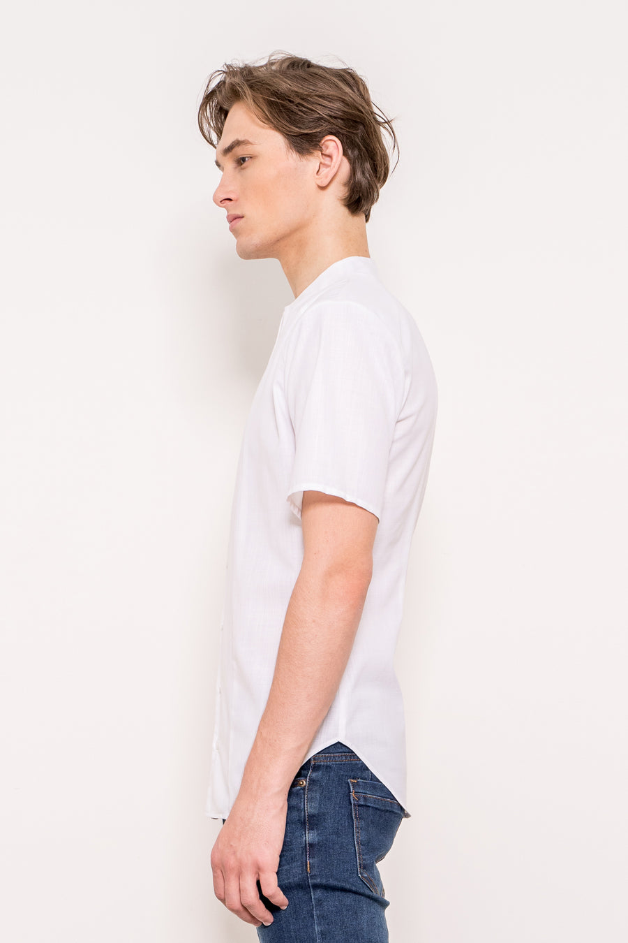 Yves - Non Iron fitted Short Sleeve White Shirt