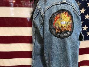 Levis Denim 70's Vintage Mens 2 Pocket Trucker Jacket with 6 Rock Band Patches
