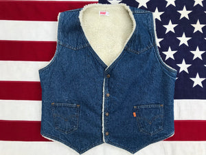 Levi's Orange Tab Denim Vest 80's Vintage Sherpa Lined South-Western Style Made in USA