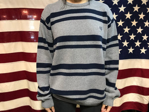 Chaps Vintage 90's Grey Marle Navy  Stripe Cotton Crew Knit
