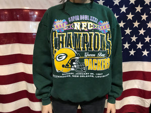 Green Bay Packers NFL 1997 Vintage Super Bowl XXXL Crew Sporting Sweat