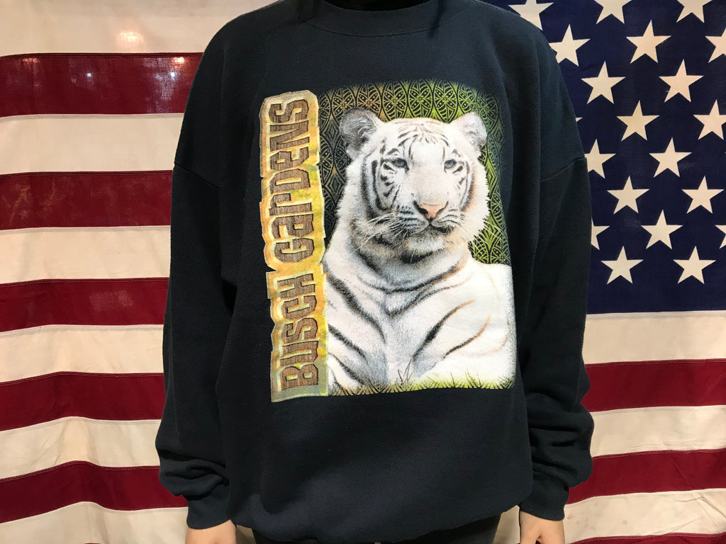 Tiger Busch Gardens 90's Vintage Animal Print Crew Sweat by Tultex
