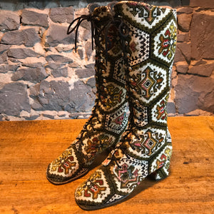 Tapestry Vintage 60/70's Women's High Lace Up Front Boots by Pacific Melody