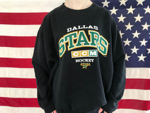 Dallas Stars NHL Ice Hockey Vintage Crew Sporting Sweat by CCM Made in Canada