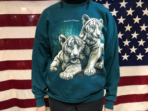 White Tigers Extinction is Forever  90's Vintage Animal Print Crew Sweat by Jerzees