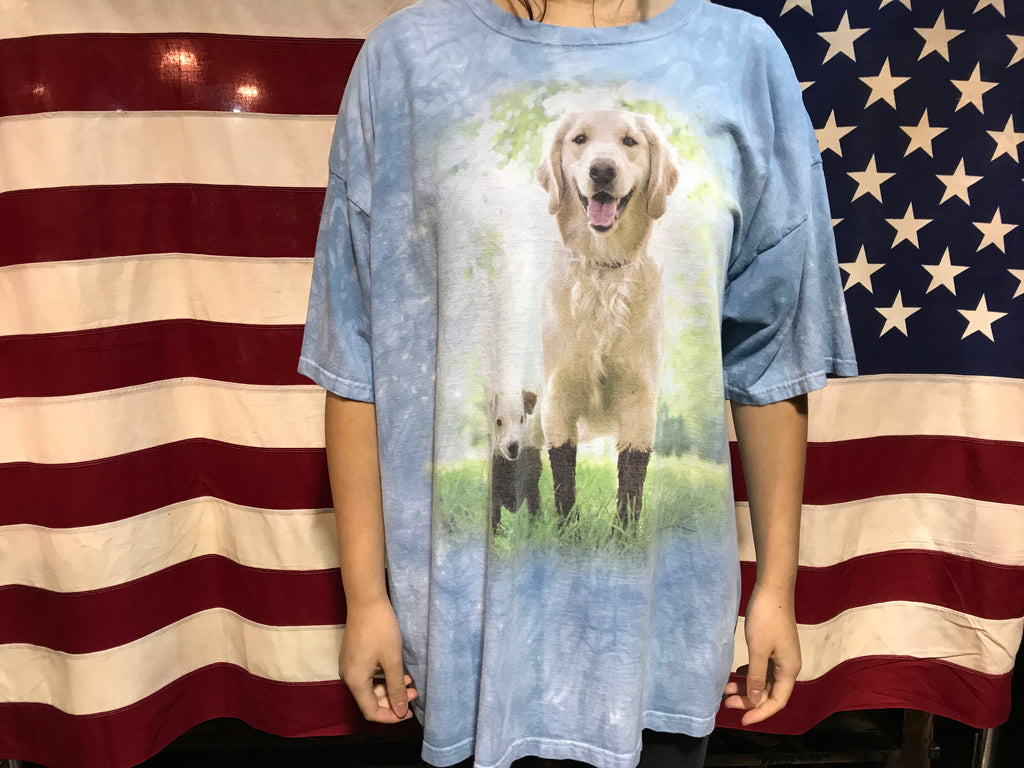 Animal Print Golden Retriever & Jack Russell Vintage 90's T-Shirt