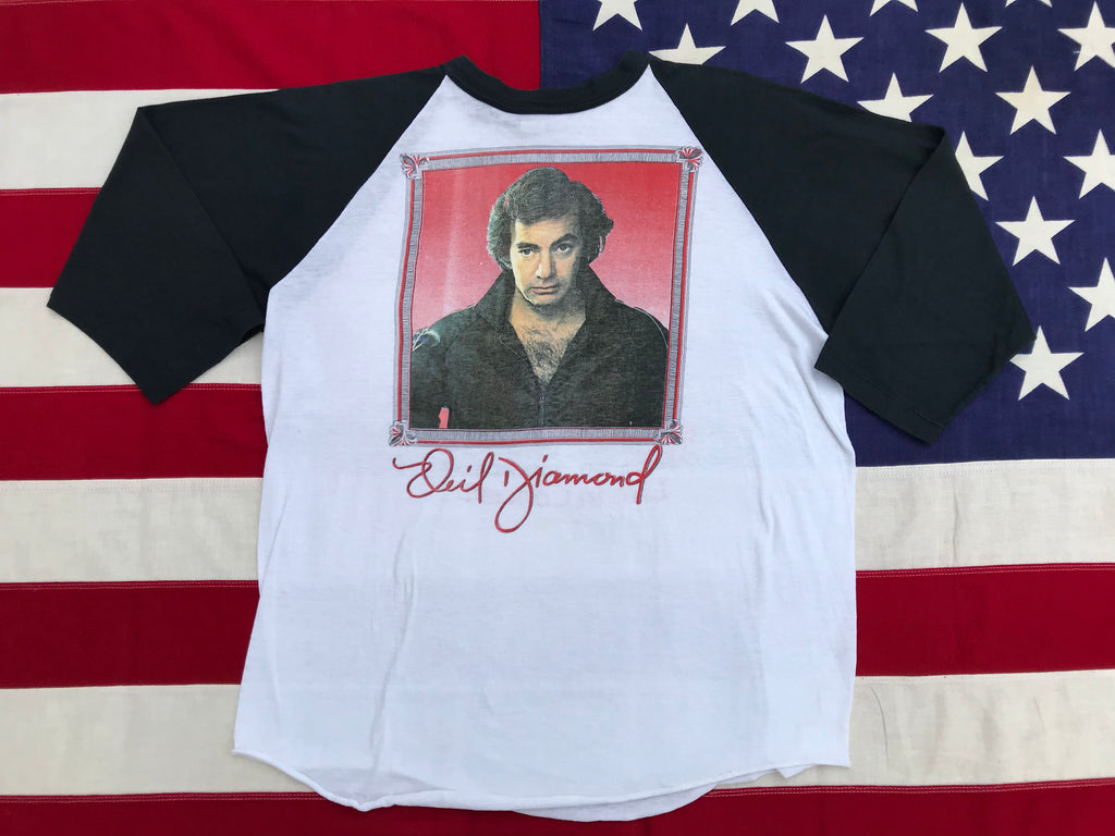 Neil Diamond - At The Forum Live In Concert 1983 Original Vintage Rock T-Shirt Raglan Sleeve Made in USA