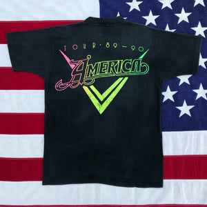 "America Tour "" 89 - 90 "" Original Vintage Rock T-Shirt by Skimmers Made in USA"