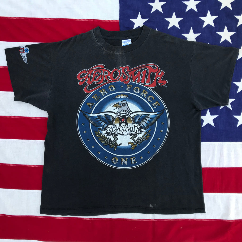 "Aerosmith "" Aero Force One "" Tour 87-88 Original Vintage Rock T-Shirt by Spring Ford Sportswear Made in USA"