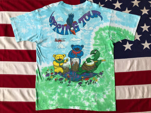 "Grateful Dead "" Spring Tour 1992 "" Original Vintage Rock Tie Dye T-Shirt by Liquid Blue Made in USA"