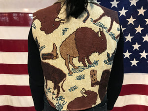 Every Stitch Counts 90's Vintage South Western Bison Print Tapestry Vest Made in Fort Worth Texas USA
