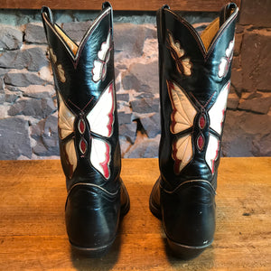 "Cowboy Boots Tony Lama Vintage Mens Fancy "" Butterfly ""  Inlaid Western Boot"