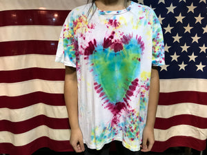 Tie Dye Love Heart 90's Vintage Design T-Shirt