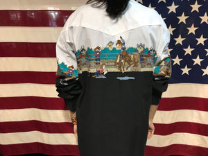 Looney Tunes Western Collection by Karman 90's Vintage Cowboy Shirt Long Sleeve Fancy with Snaps