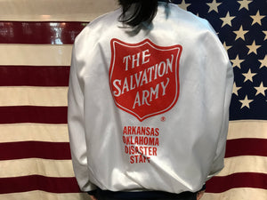 Satin Vintage 80's Bomber Jacket for The Salvation Army by Hilton Active Apparel Made in USA