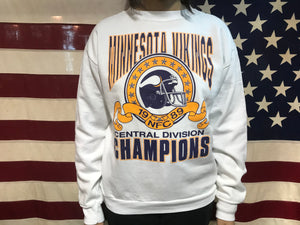 Minnesota Vikings NFL Central Division Champions 1989 Vintage Crew Sporting Sweat by Logo7 Made in USA