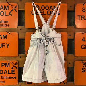 Vintage 80's London London High Waisted Acid Washed Denim Women's Short Overalls