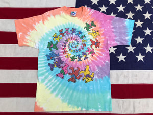 "Grateful Dead "" Spiral Bears 1997 "" Original Vintage Rock Tie Dye T-Shirt by Liquid Blue Made In USA"