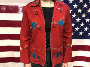Mexican Vintage 1940's -1950's Embroidered Wool Souvenir Jacket by Presidente Made in Mexico