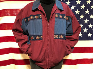 Aztec 90's Vintage Mens Bomber Jacket by Express Rider Made in USA