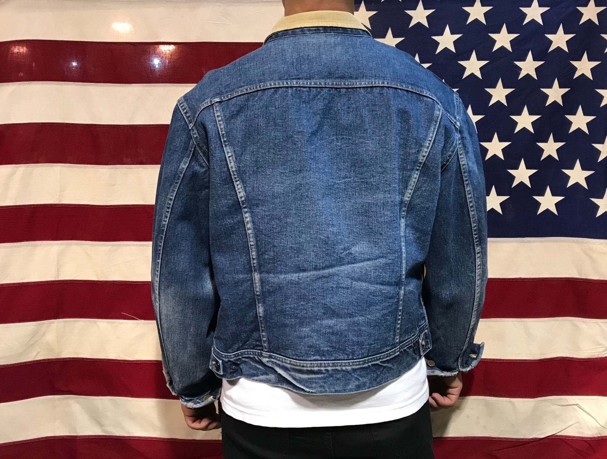 Lee Storm Rider Mens 90's Vintage Denim Blanket Lined Jacket Made in USA