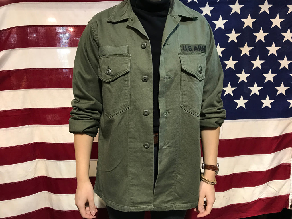 US Military Vintage Olive Drab Mens Over Shirt Jacket