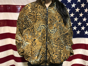 Pattern Animal Print 80's Vintage Nylon Bomber Jacket